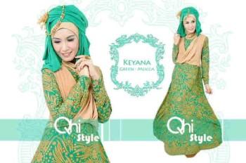 baju pesta online shop Pusat-Gamis-Terbaru-Keyana-By-Qhistyle-Green-Mocca
