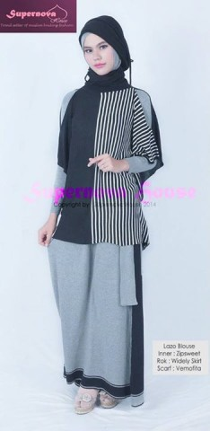 model baju pesta simple elegan Pusat-Gamis-Terbaru-Lazo-Blouse-hitam-Putih