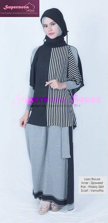 Lazo Blouse Hitam Putih Baju Muslim Gamis Modern