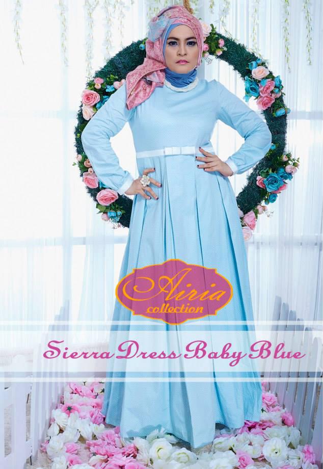 Sierra Polka Dress Baby Blue Baju Muslim Gamis Modern