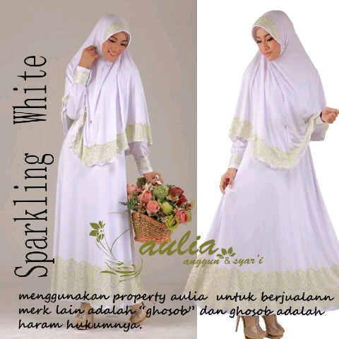 Sparkling White Hijau Muda Baju Muslim Gamis Modern