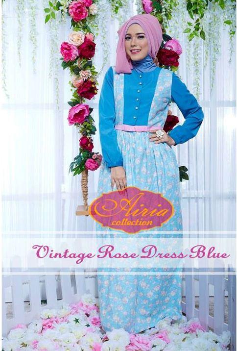 Vintage Rose Blue Baju Muslim Gamis Modern