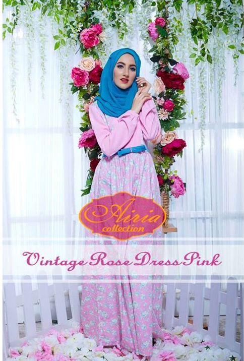 Vintage Rose Pink Baju Muslim Gamis Modern