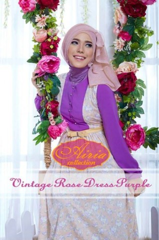 baju pesta simple elegant Pusat-Gamis-Terbaru-VINTAGE-ROSE-DRESS-by-Airia-Purple