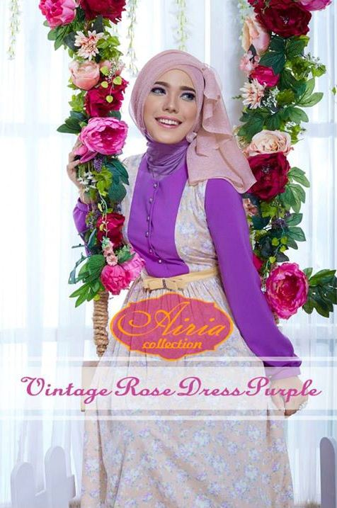 Vintage Rose Purple Baju Muslim Gamis Modern