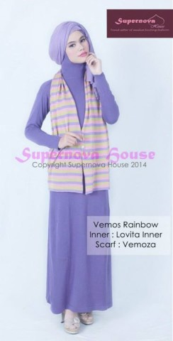 baju pesta pengantin muslim Pusat-Gamis-Terbaru-Vemos Rainbow-Salem-Khaki