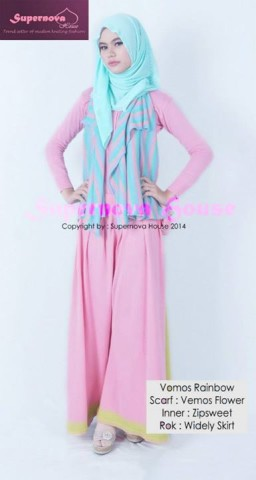 baju pesta simple elegant Pusat-Gamis-Terbaru-Vemos Rainbow-Tosca-Pink