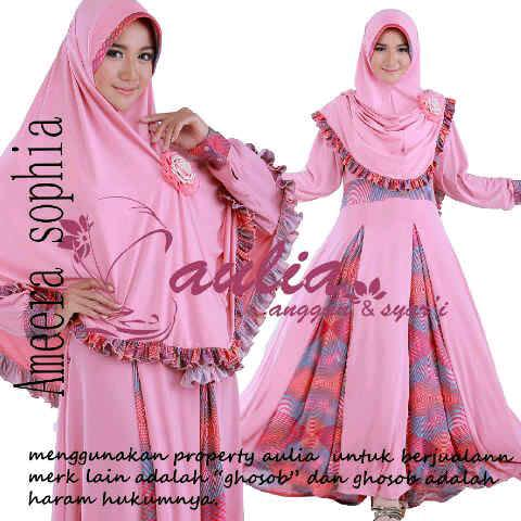 baju pesta exclusive Pusat-Gamis-terbaru-Ameera-By-Aulia-Pink