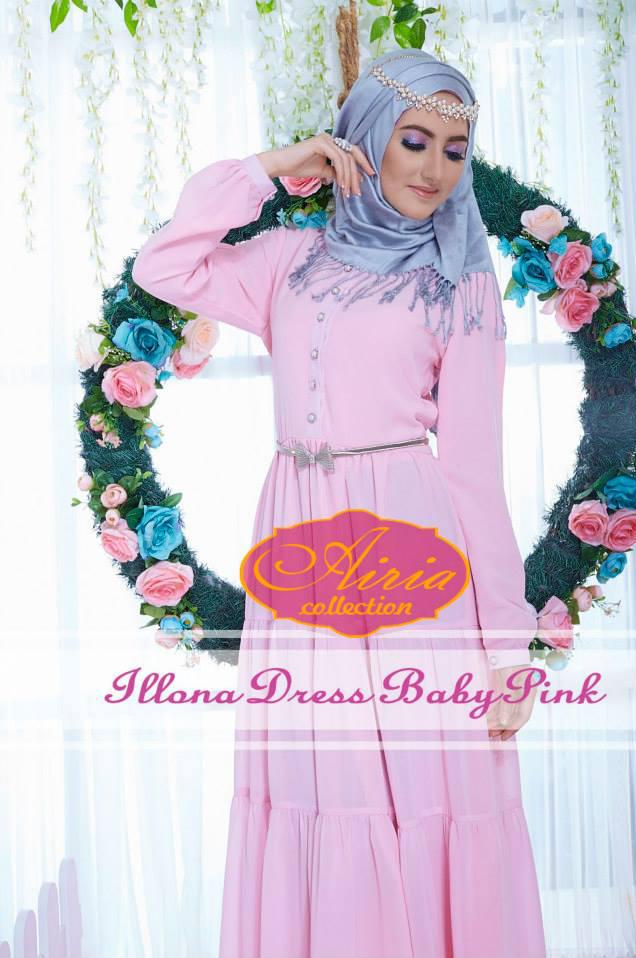 baju pesta Pusat-Gamis-terbaru-Illona-Dress-Baby-Pink
