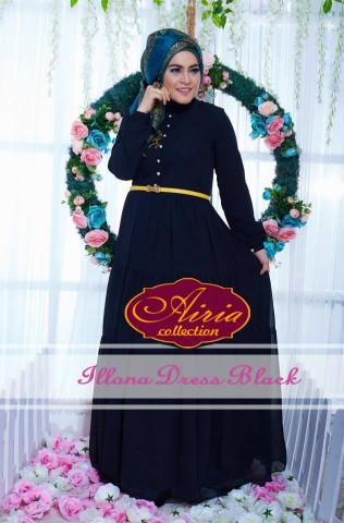 baju pesta wanita modern Pusat-Gamis-terbaru-Illona-Dress-Black