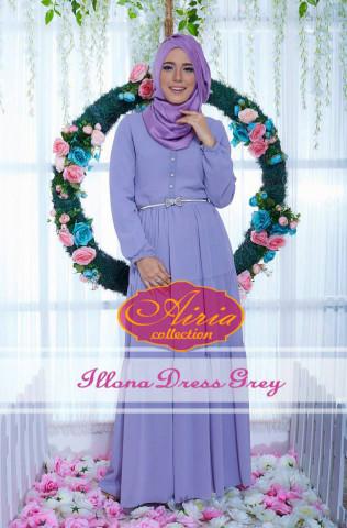 pakaian pesta wanita modern Pusat-Gamis-terbaru-Illona-Dress-Grey