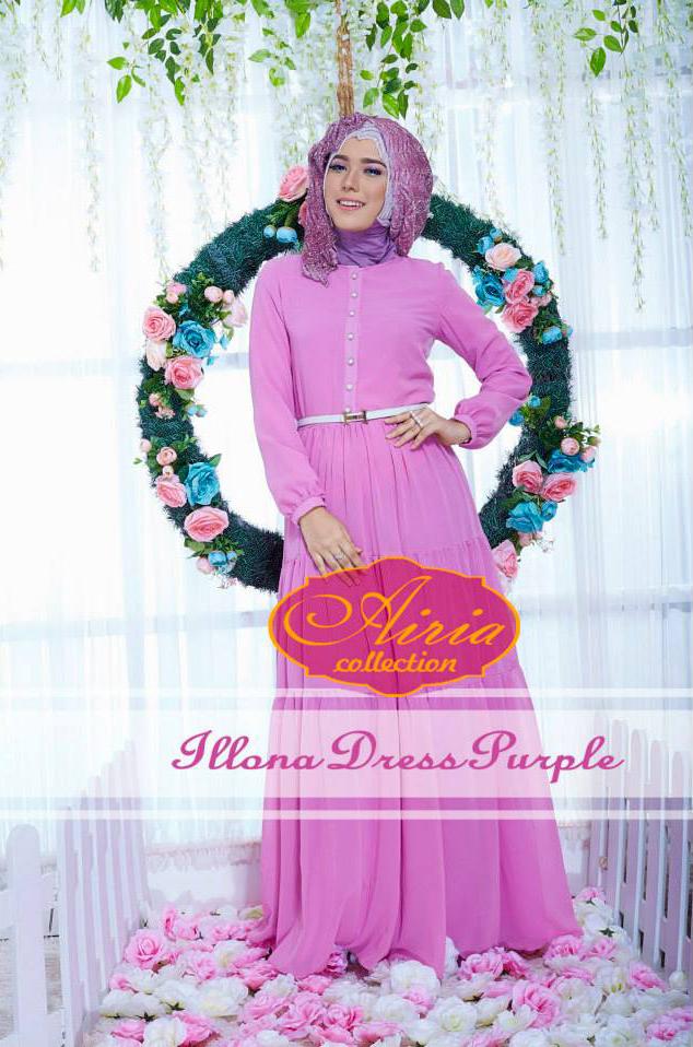 Illona Summer Purple Baju Muslim Gamis Modern