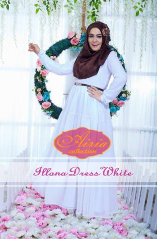 baju pesta wanita muslimah Pusat-Gamis-terbaru-Illona-Dress-White