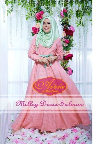 baju pesta fashion Pusat-Gamis-terbaru-Milley-Dress-By-Airia-Salmon