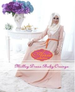 model baju pesta wanita muslimah Pusat-Gamis-terbaru-Milley-Dress-By-Airia-baby-Orange