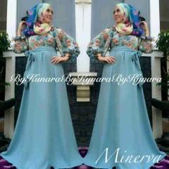 baju pesta pengantin muslim Pusat-Gamis-terbaru-Minerva-By-Kynara-biru-Telur-Asin