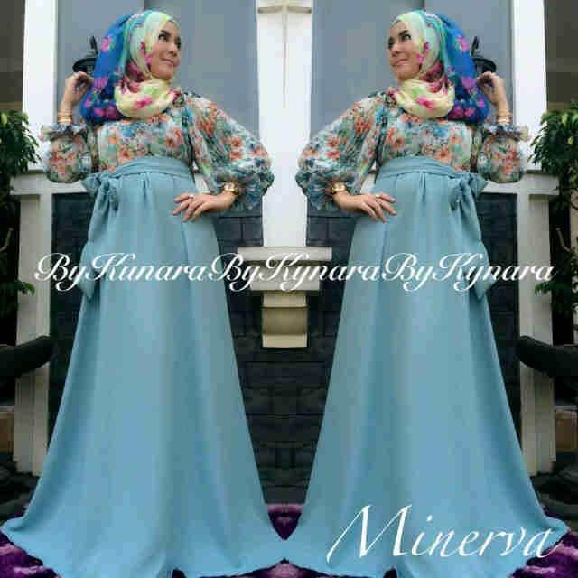 Minerva By Kynara Biru Ta Baju Muslim Gamis Modern