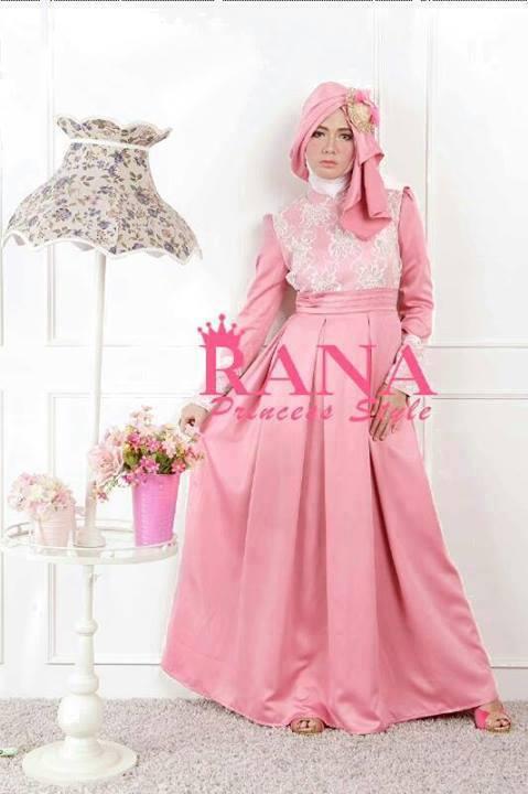 Patriana Dress Peach Baju Muslim Gamis Modern