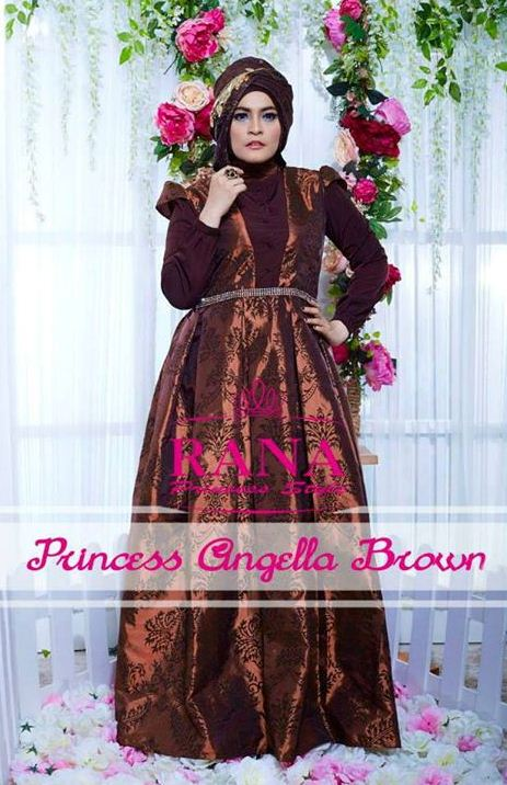 Princess Angella Brown Baju Muslim Gamis Modern