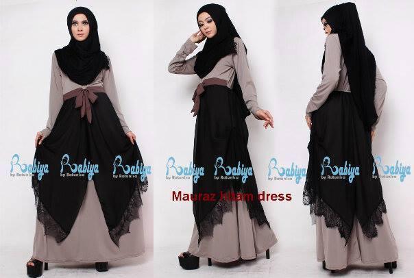 Rabiya Mauraz Dress Hitam Baju Muslim Gamis Modern