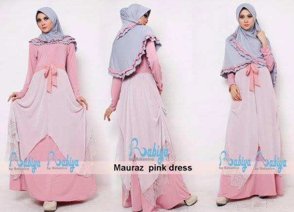 baju pesta yg bagus Pusat-Gamis-terbaru-Rabiya-Mauraz-Dress-Pink