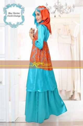 baju pesta resmi Pusat-Gamis-terbaru-Rajna-17-Blue-marine-Fress-Orange