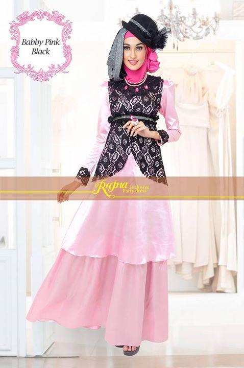Rajna 17 Baby Pink Black Baju Muslim Gamis Modern