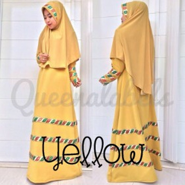 Raline By Queena Yellow Baju Muslim Gamis Modern