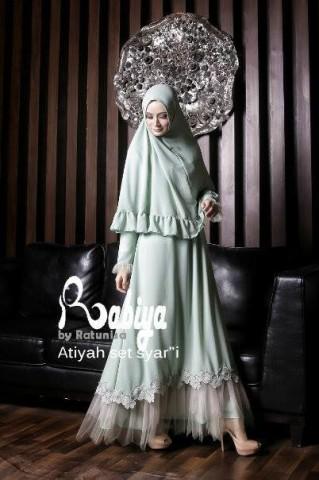 baju pesta wanita dewasa pusat-Gamis-Terbaru-Atiyah-Set-Syar'i-hijau-Mint