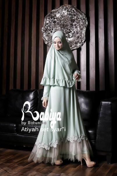 Baju Muslim Gamis Modern Atiyah Dress Syari Hijau Mint