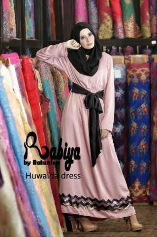 model baju pesta wanita muslimah pusat-Gamis-Terbaru-Huwaida-Dress