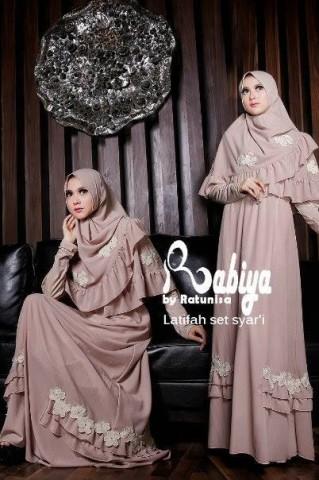 model baju pesta elegan pusat-Gamis-Terbaru-Latifah-Set-Syar'i-Coksu