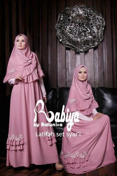 model baju pesta muslim elegan pusat-Gamis-Terbaru-Latifah-Set-Syar'i-Pink