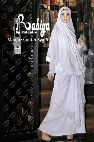 model baju pesta simple elegan pusat-Gamis-Terbaru-Maurazz-Syar'i-Putih