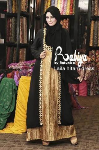 model gaun pesta muslimah cantik pusat-Gamis-Terbaru-laila-Dress-Hitam
