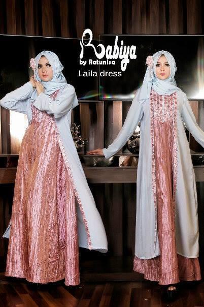 Laila Dress By Rabiya Baby Blue Baju Muslim Gamis Modern