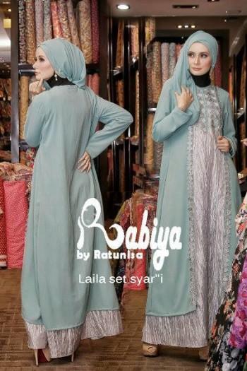 Laila Dress Hijau Ts Baju Muslim Gamis Modern