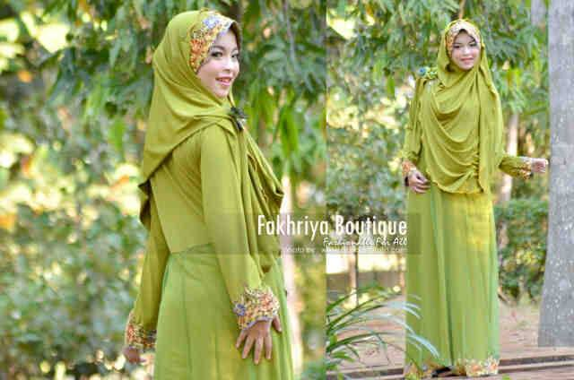 baju pesta muslimah eksklusif pusat-Gamis-terbaru-Salima-By-Fakhriya-Green