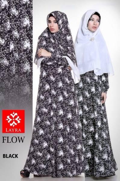 baju pesta hijabers pusat-gamis-Terbaru-Flow-flower-vol-2-Black