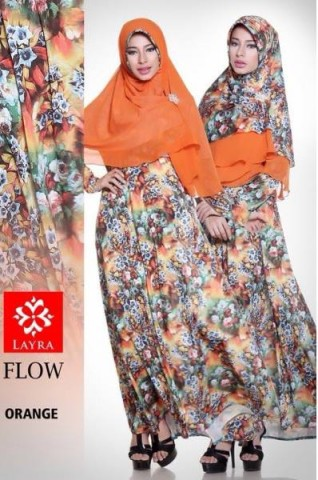 model baju pesta pusat-gamis-Terbaru-Flow-flower-vol-2-Orange