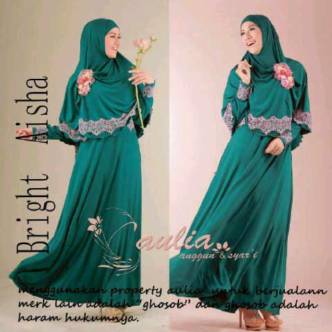 Aisha By Aulia Green Baju Muslim Gamis Modern