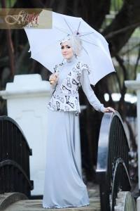 Pusat Gamis Terbaru Azarine by Fitria Style Abu Silver