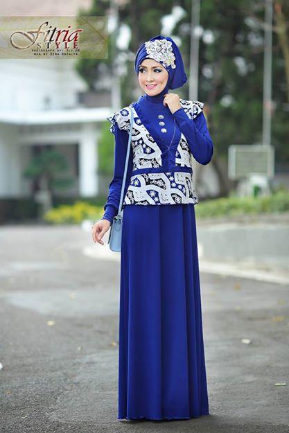 Azarine By Fitria Style Biru E Baju Muslim Gamis Modern