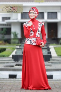 Pusat Gamis Terbaru Azarine by Fitria Style Merah
