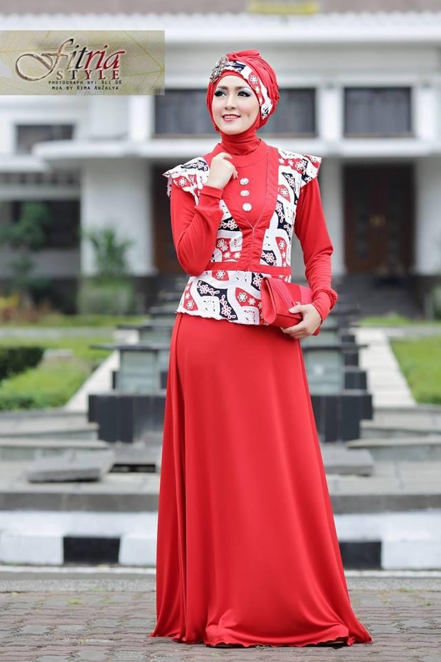 Azarine By Fitria Style Merah Baju Muslim Gamis Modern