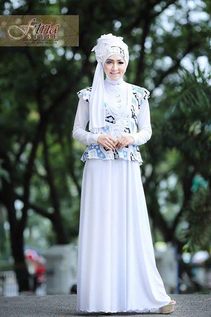 Azarine By Fitria Style Putih Baju Muslim Gamis Modern