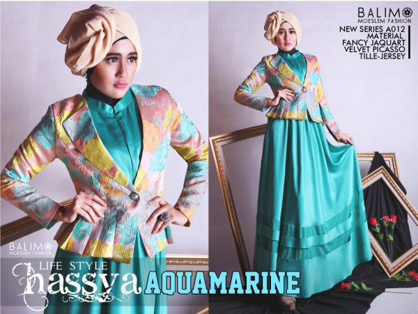 Balimo hassya aquamarine baju muslim gamis modern Baju gamis nevada
