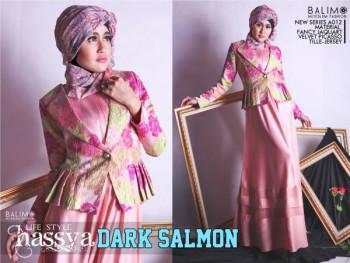 model baju muslim pesta Pusat Gamis Terbaru Balimo Hassya Dark Salmon