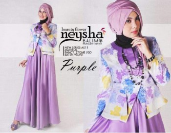 gaun renda pesta Pusat-Gamis-Terbaru-Balimo-Neysha-Beauty-Flower-purple