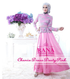 Pusat Gamis Terbaru Chania Dress Dusty Pink By Rana Style